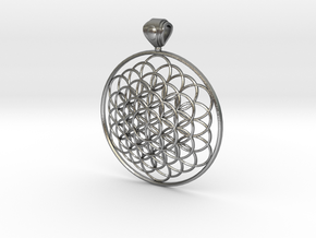 Flower Of Life Pendant 6cm Fancy Big Loopet in Natural Silver