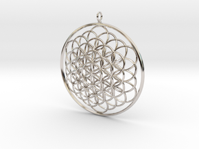 Flower Of Life Pendant - w Loopet - 6cm in Rhodium Plated Brass