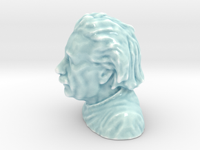 Einstein Bust Various Sizes and Materials in Gloss Celadon Green Porcelain: Medium