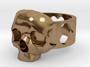"""Ring """"Heart with Skull"""" in Natural Brass"""