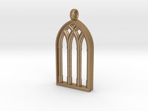 Castle Window Block Pendant in Matte Gold Steel