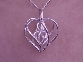 My Heart is Yours Pendant in Polished Silver (Interlocking Parts)
