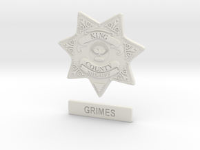 Walking Dead sheriff Grimes badge in White Natural Versatile Plastic