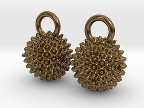 Ragweed Pollen Earrings - Nature Jewelry in Natural Bronze