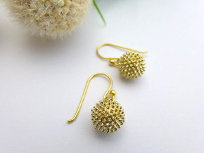 Ragweed Pollen Earrings - Nature Jewelry in Natural Brass