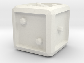 Dice/Cube in White Natural Versatile Plastic