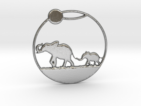 The Elephants Family Pendant in Natural Silver