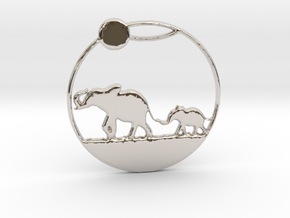 The Elephants Family Pendant in Rhodium Plated Brass