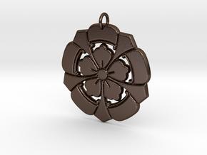 Matsuya Floral Pendant in Polished Bronze Steel