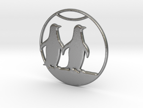 The Penguins Couple Necklace in Natural Silver