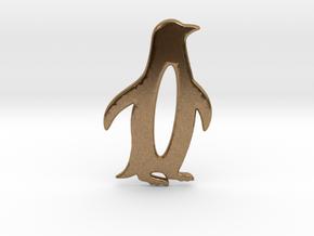 Minimalist Penguin Pendant in Natural Brass: Large
