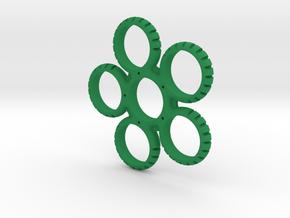 Five Sided Fidget Spinner in Green Processed Versatile Plastic