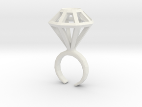 Haxagonal diamond ring  - standard size in White Strong & Flexible