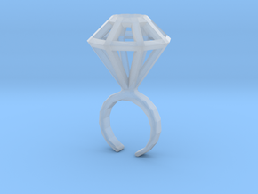Haxagonal diamond ring  - standard size in Smooth Fine Detail Plastic