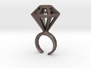 Haxagonal diamond ring  - standard size in Polished Bronzed Silver Steel