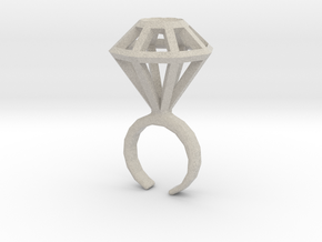 Haxagonal diamond ring  - standard size in Natural Sandstone