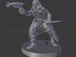 Drow Assassin in White Natural Versatile Plastic