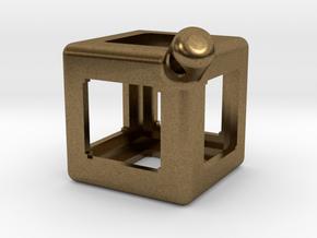 FidgetKeyCube Rev1 in Natural Bronze