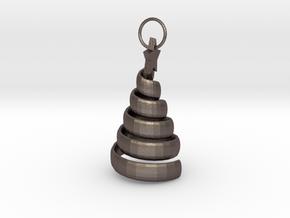 Swirl Tree Pendant in Polished Bronzed Silver Steel