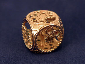 Gears Delirium I - D6 in Polished Brass