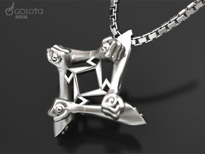 Self-destruct Pendant for Metallica fans in Polished Bronzed Silver Steel: Medium