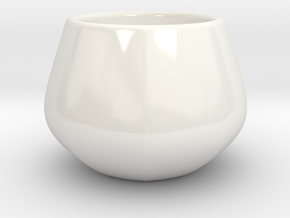 Coffee Cup Octogon in Gloss White Porcelain