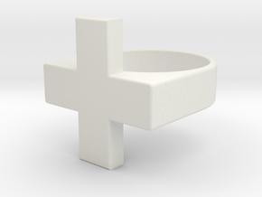 Plus Ring  in White Natural Versatile Plastic: 7.5 / 55.5