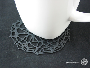 6er Drink Coaster Set - Voronoi #9 (Thin) in Black Strong & Flexible