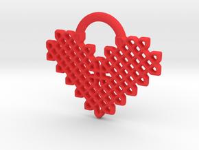 Celtic Heart Pendant in Red Processed Versatile Plastic