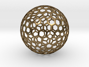 honeycomb sphere - 60 mm in Natural Bronze