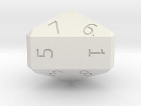 Nine-Sided Die (d9) in White Natural Versatile Plastic
