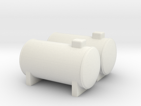 N Scale 2x Propane Tank in White Natural Versatile Plastic