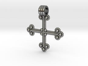 Twisted Wire Cross Pendant in Polished Silver