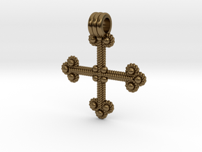 Twisted Wire Cross Pendant in Polished Bronze