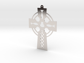 Cross Cut Out Style with Shell in Rhodium Plated Brass