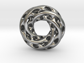 0611 IsoSurface F(x,y,z)=0 Diamond Tori [5] d=5cm in Natural Silver