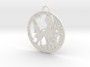 Pendant - SIlver - Girls Playing in the Garden in White Natural Versatile Plastic