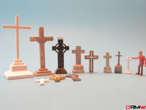 HO/1:87 Cemetery set 1 - crosses kit in White Natural Versatile Plastic