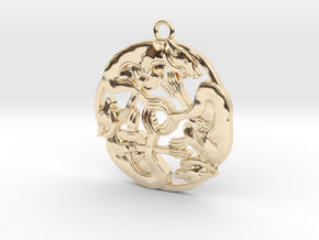 Celtic-Dog in 14k Gold Plated Brass