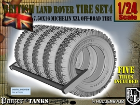 1-24 Land Rover 750x16 Tire Set4 in Black Strong & Flexible