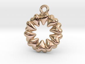 Round Dance Of Hearts in 14k Rose Gold Plated Brass