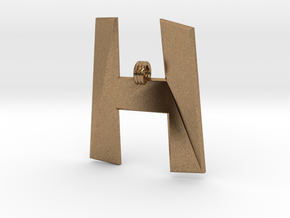 Distorted letter H in Natural Brass