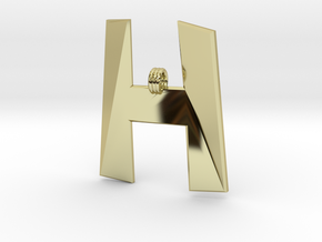 Distorted letter H in 18k Gold Plated Brass