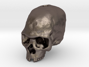 Liujiang skull bead in Polished Bronzed Silver Steel