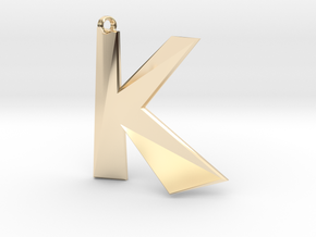 Distorted letter K in 14K Yellow Gold