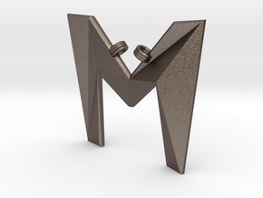 Distorted letter M in Polished Bronzed Silver Steel