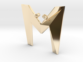 Distorted letter M in 14K Yellow Gold
