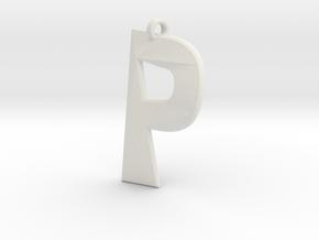Distorted letter P in White Natural Versatile Plastic