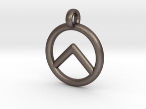 Spartan Shield Pendant/Keychain in Polished Bronzed Silver Steel
