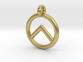 Spartan Shield Pendant/Keychain in Natural Brass